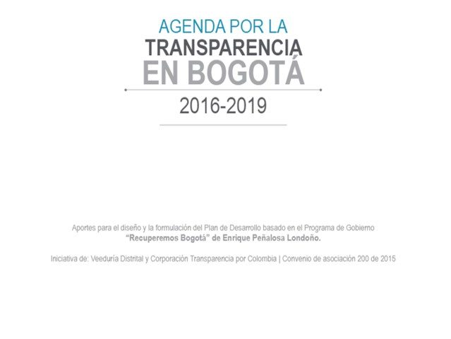 Agenda por la Transparencia en Bogotá 2016 – 2019