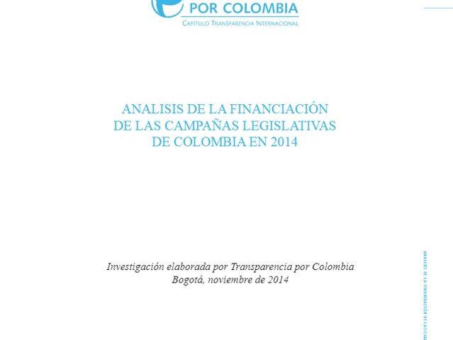 Análisis de la financiación de las campañas legislativas de Colombia en 2014