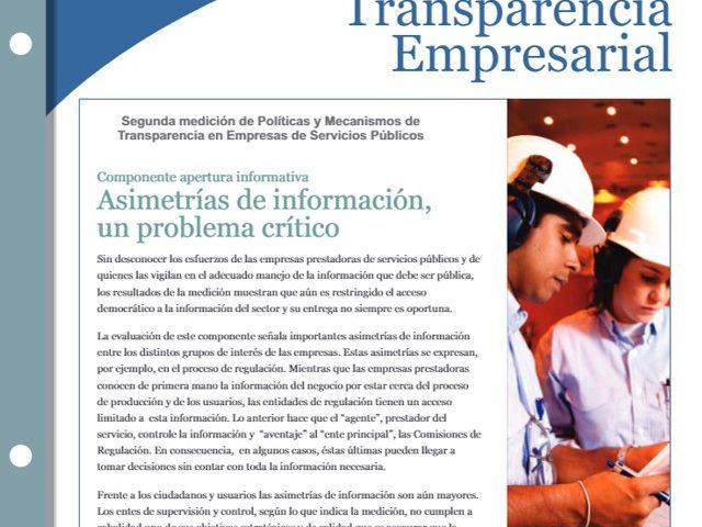 Boletin A Transparencia Empresarial – II Medición de Políticas de Transparencia en Empresas de Servicios Públicos