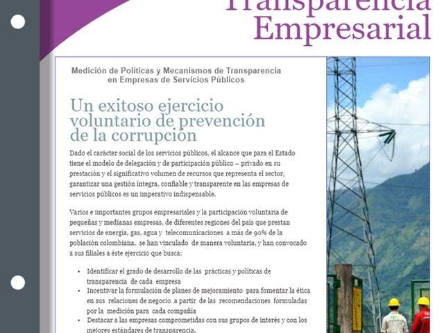 Boletin B Transparencia Empresarial – II Medición de Políticas de Transparencia en Empresas de Servicios Públicos