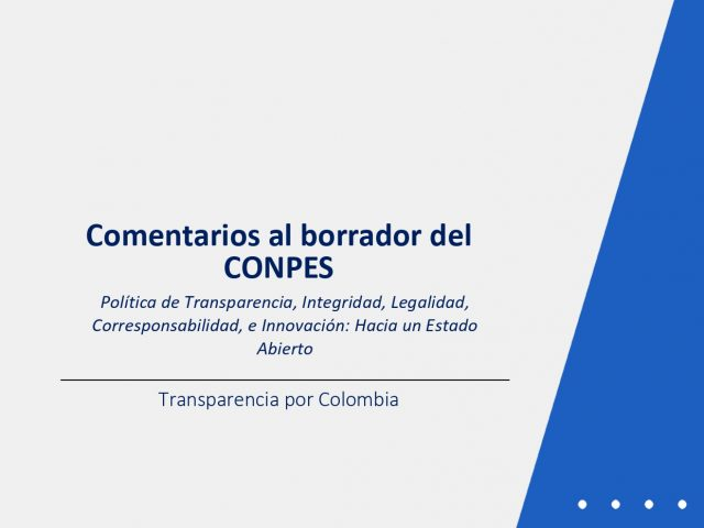 Comentarios al borrador del CONPES