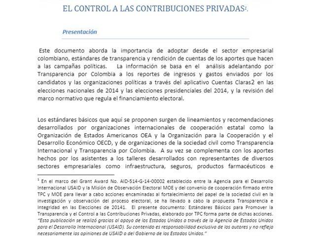 Estándares básicos para promover la transparencia y el control a las contribuciones privadas