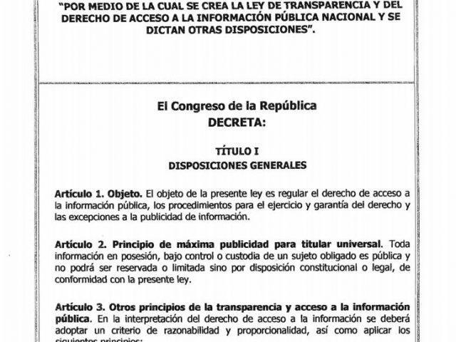 Ley 1712 del 6 de marzo de 2014