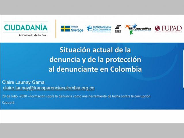 Situación actual de la denuncia y de la protección al denunciante en Colombia