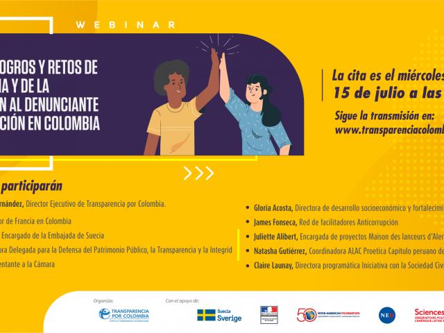 Webinar Actores, logros y retos de la denuncia y de la protección al denunciante de corrupción en Colombia