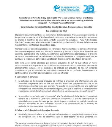 Comentarios de Transparencia por Colombia al Proyecto de Ley 008 de 2019 – Ley Pedro Pascasio Martínez