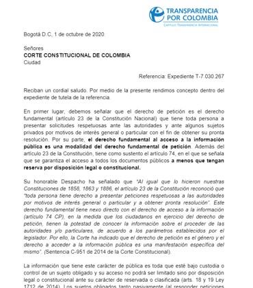 Respuesta de Transparencia por Colombia a Corte Constitucional- Declaración de bienes y rentas 2018-o